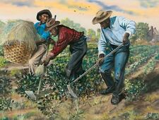 "African American Art Print ""Slaves Hoeing Cotton"" Color of Money Slavery Series"