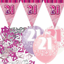 Pink Silver Girl Glitz 21st Birthday Flag Banner Party Decoration Pack Kit Set