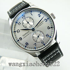 43mm Parnis Power Reserve Blue Marks Seagull Silver Dial Automatic Mens Watch 48