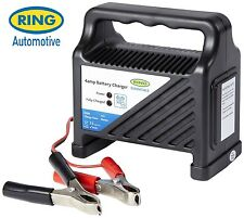 Ring Automotive Essentials 12 Volt 4 Amp Compact Car & Bike Battery Charger RCB4