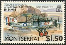 RAF FAIREY GORDON Biplane Fighter Aircraft Stamp (1993 Montserrat)