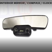 LARGE CAR REAR VIEW INTERIOR MIRROR UNIVERSAL CLOCK COMPASS TEMPERATURE  - AC26