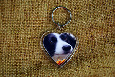 Border Collie Gift Keyring Dog Key Ring heart shaped gift Valentine