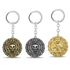 Pirates of the Caribbean Keychain Skull Aztec Coin Medallion Logo Key Chain Ring