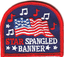 """""""STAR SPANGLED BANNER"""" w/AMERICAN FLAG-USA/Iron On  Patch/Patriotic,Anthem"""