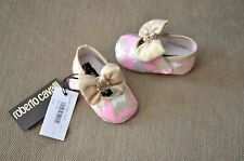 New Authentic Roberto Cavalli Infant Baby Girl Crib Pink Gold Shoes (6-12 Month)