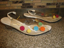 "Vintage Bob Baker Clear With Colorful Polka Dots Womens Shoes 2"" Lucite Heels"
