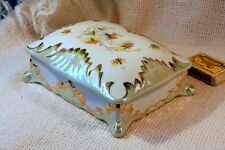 ANTIQUE VINTAGE 1930`s Rare Hand Painted PORCELAIN JEWELRY BOX