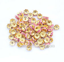 130 8mm Pink Gold Plated CZ Crystal Rhinestone Spacer Loose Beads Findings D001