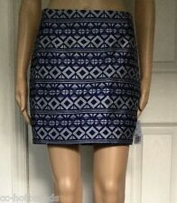 NWT LOVE 21 Juniors Indigo/Silver-design Short Skirt S Small
