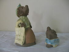 2 Vintage Whimsical Mole Animal Sculptures  Signed Kristen Art Pottery Clay