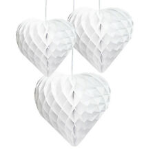 3 x Pretty paper hanging honeycomb White Hearts Hanging Wedding Decorations