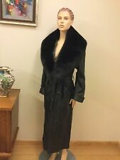DAMSELLE IN NEW YORK 100% LEATHER COAT WITH FOX FUR COLLAR, SIZE XS