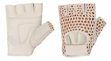 Leather Mesh Padded Women Weight Lifting Exercis Gym Wheelchair White Gloves