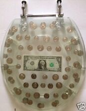 RESIN TOILET SEAT BIG MONEY DOLLAR, COINS, STANDARD ROUND CHROME HINGE