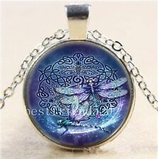 Vintage Fashion Fine Jewellery Women's Celtic Dragonfly Glass Cabochon Necklace
