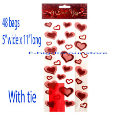 48 VALENTINE'S DAY Party bag CELLO Cellophane Goody Treat HEART PRINT candy BAGS