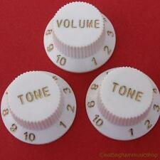 3 WHITE ST ELECTRIC GUITAR VOLUME+TONE KNOBS NEW CHEAP