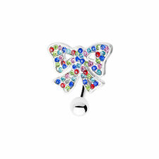 Bow Reverse Belly navel Ring with Multiple CZ Gems 14ga 316L Surgical Steel