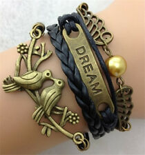 NEW Retro Infinity Dream Dove  Peace Leather Charm Bracelet plated Copper D22