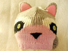 Girls Cute Animal Racoon Pink Grey white ears pom poms beanie hat Ski Festival