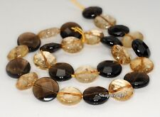 15MM  MIX QUARTZ GEMSTONE FACETED FLAT ROUND LOOSE BEADS 7.5""