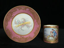Sevres Cup & Saucer Rose Pompadour Gilded Watteau Scene- Antique with c1755 Mark