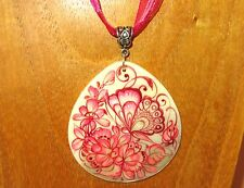 Genuine Russian White Lip Shell hand painted Pink Butterfly on flowers pendant