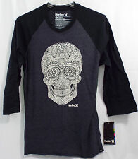 Men's Hurley Sure Thing Raglan Tee with a Stenciled  Skull in Small