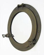 """Aluminum Antique Brass Finish 17"""" Ship's Porthole Mirror Round Maritime Decor"""