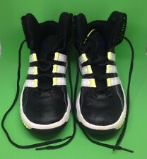Adidas MisterFly K black white neon yellow high top sneaker shoes size 6