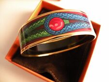 "Hermes Printed Enamel Bangle Bracelet 1"" Wide Gold Trim 17yrs  eBay New Box $550"