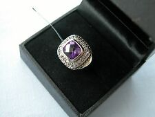 LOT 340 STUNNING SQUARE AMETHYST + WHITE TOPAZ STERLING SILVER RING SIZE - J 1/2