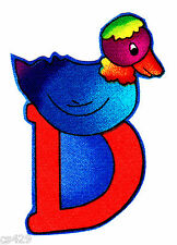 """2.5"""" SILLY ANIMAL ALPHABET ABC'S LETTER D  DUCK  FABRIC APPLIQUE IRON ON"""