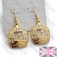 QUIRKY BIRD CAGE EARRINGS gold plated CUTOUT VINTAGE BIRDCAGE birds FILIGREE