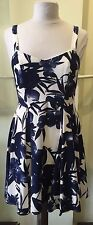 Ixia Ivory & Navy Tropical Floral Fully Lined Pleated Dress
