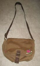 Aeropostale Brown Canvas Slouch Crossbody Messenger Bag Purse Tote Shoulder