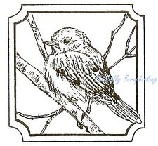 BLUE BIRD NOTCHED SQUARE FRAME Wood Mounted Rubber Stamp NORTHWOODS CC9979 New