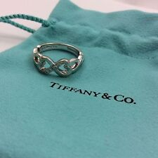 TIFFANY & CO PICASSO DOUBLE LOVING HEART 18K WHITE GOLD & DIAMONDS RING SIZE 6.5