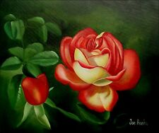 Red Rose with Bud, Hand Painted Oil Painting 20x24in
