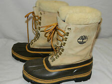 Womens VTG Timberland Leather Rubber Sheepskin Cuff Pac Boots Snow Winter sz 9W