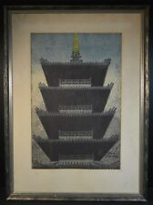 Shiro Kasamatsu Five Story Pagoda at Dusk Color Print Signed
