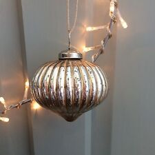 Silver Gold Mercury Glass Ribbed Onion Bauble, Christmas Tree Decoration Vintage