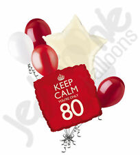 7pc Red Keep Calm You're Only 80 Happy Birthday Balloon Bouquet Party Decoration
