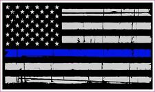Thin Blue Line Police American Flag Distressed decal sticker 4 inch