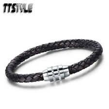 TTstyle Leather S.Steel Magnet Buckle Double Row Swarovski Crystal Bracelet