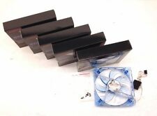 "5 PC New 120mm 12cm 6.5"" Blue 4 LED LEDs Case Power Supply Fan 3/4 Pin DC 12V"