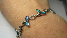 STERLING SILVER 925 ESTATE SYNTHETIC BLUE FIRE OPAL WHALES TAIL BRACELET
