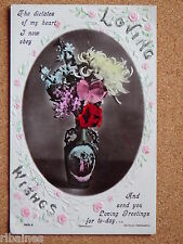 R&L Postcard: Loving Wishes, Sentimental, Antique Vase, Roses, Floral Greetings