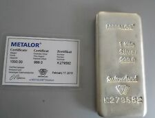 1KG Metalor 0.999 Fine Silver Bullion Bar + Certificate  2015